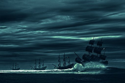 Ocean, Sea, Boat, Pirate, Pirate Ship, Picture, Storm