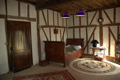 Studs, Daub, Old House, Wall, France, Interior, Village