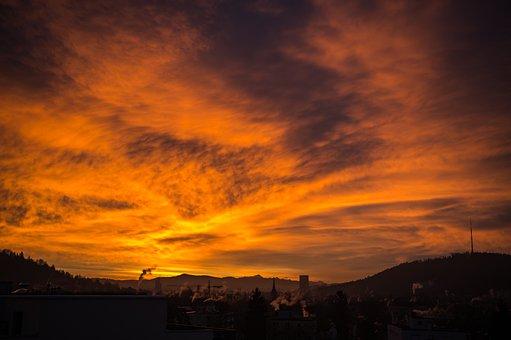 Sunrise, Skies, Orange, Color, Sky, Atmospheric, Mood