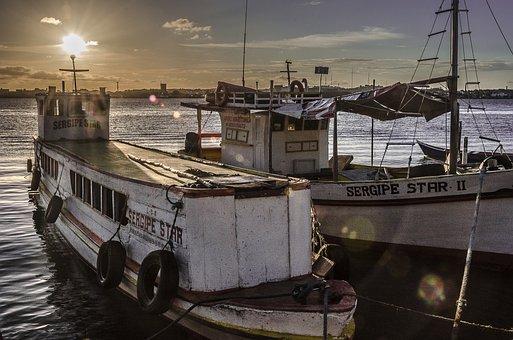 Sergipe, Barra Dos Coqueiros, Aracaju, Boats, Sunset