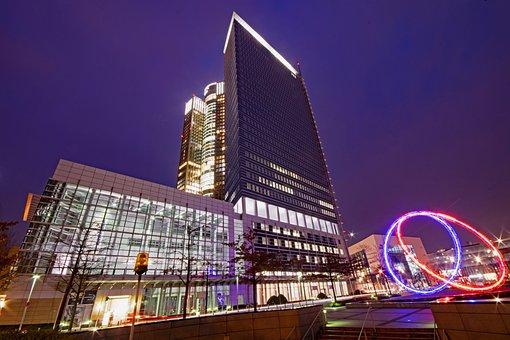 Frankfurt, Hesse, Germany, Pollux, Tower 185, Night
