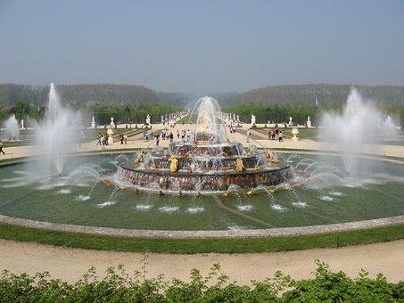 Versailles, Castle, Garden, Water Jet, Monument