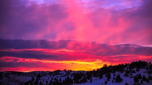 Utah, Sunset, Dusk, Sunrise, Beautiful, Winter, Snow