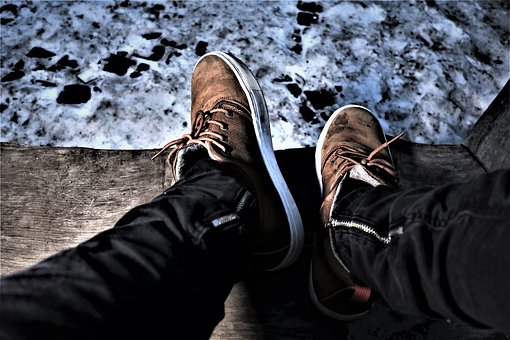 Shoes, Winter, Night, Snow, Cold, Wintry, Flash, Ice