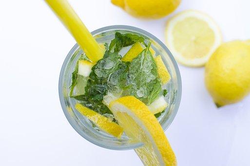 Citron, čerstvosti, Mojito, Zeleným, Lupen, Citrus