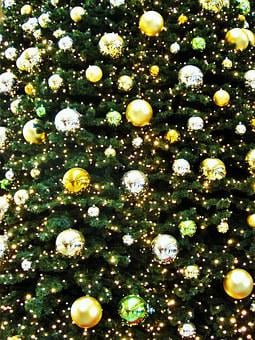 Golden Fir Ball, Golden Christmas Tree, Advent