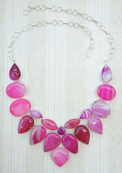 Pink, Hot Pink, Agate, Drusy, Druy, Necklace, Choker