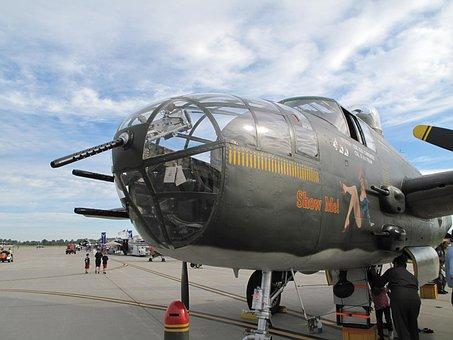 Plane, Bomber, Vintage, Mitchell, Air, B-25, Airplane