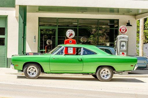 Classic Car, Antique Gas Pump, Green, Lime Green