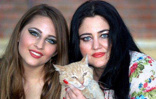 Mom, Daughter, Cat, Blue Eyes, Family, Beauty