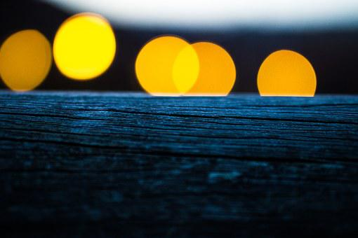 Wood, Orange, Bokeh, Abstract, Background, Blur, Night