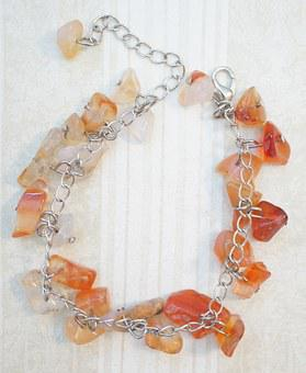 Carnelian, Orange, Bracelet, Anklet, Chain, Beaded