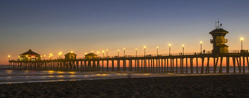 Huntington Beach, Jetty, Pier, California, Sunset, Surf