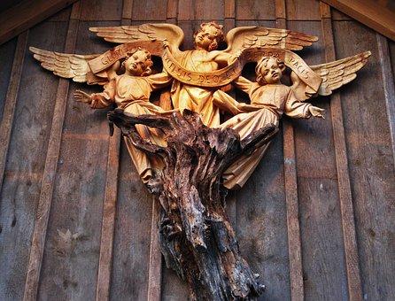 Glory To God, Angel, Carved, Wood, Angel Made Of Wood