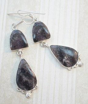 Charoite, Purple, Dark, Black Earrings, Exotic