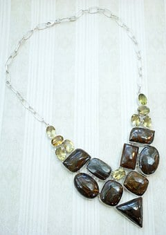 Bronzite, Yellow, Quartz, Necklace, Exotic, Belly Dance