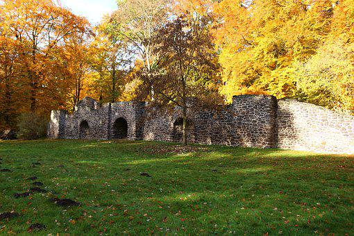 Autumn, Ruin, Fall Foliage, Grotto, Castle Park