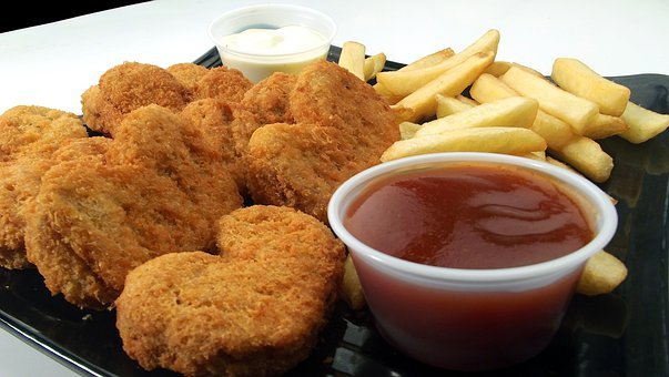 Chicken Nuggets, Fries, Dip, Sauce, Grilled, Bbq