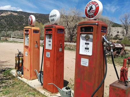 Filling Station, Gas Station, Gas Pumps, Gas, Vintage