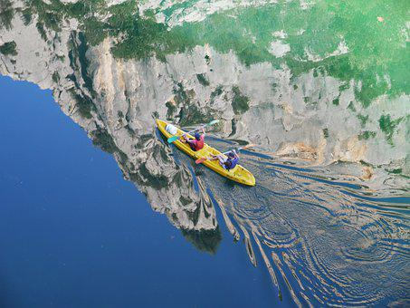 Gorges You Verdon, Kayak, Drive, Mirroring, Rock Wall
