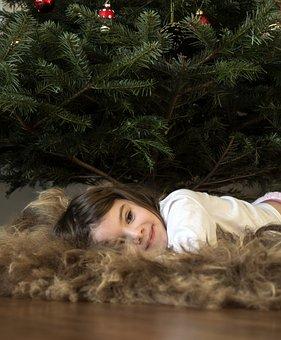 Girl, Child, Xmas, Xmas Tree, Relaxing, Kid, Happy