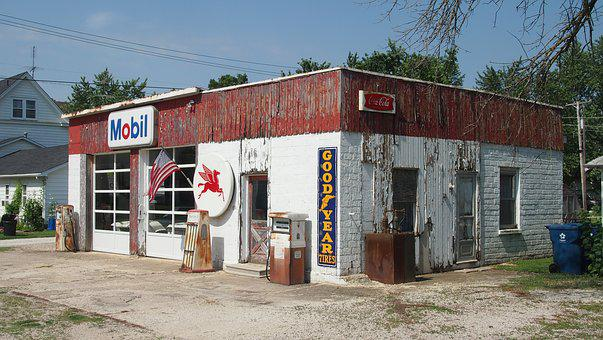 Route 66, Illinois, Petrol Stations, Old, Z, Decay