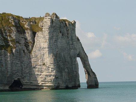 Cliffs, Etretat, Normandy, France, Erosion, Limestone