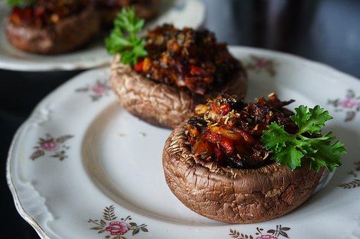 Mushroom, Oven, Baked, Vegan, Filling, Oven Baked, Food