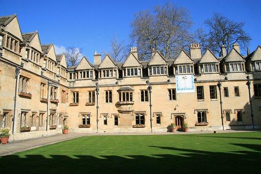Oxford, England, Courtyard, Uk, Architecture