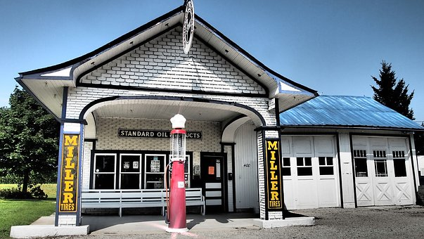Route 66, Illinois, Petrol Stations, Old, Decay