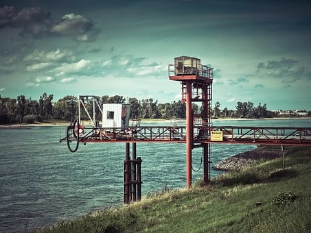 Petrol Stations, Ship, Rhine, Shipping, Water, River