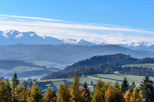 Snow Peaks, Meadows, Sheep, Mountains, Blue, The Sun