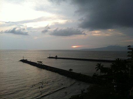 Puerto Vallarta, Beach, Horizon, Sea, Sky, Sunset