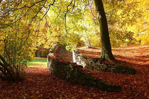 Autumn, Ruin, Stairs, Fall Foliage, Stair Step