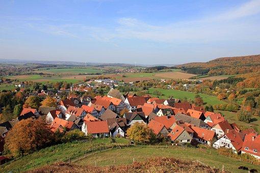 Village, Homes, Landscape, Teutoburg Forest, Autumn