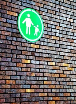 Sign, Wall, Mother, Toddler, Family, Child, People