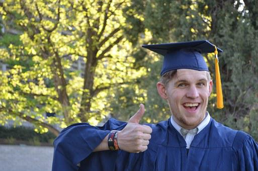 Graduation, Man, Cap, Gown, Education, University