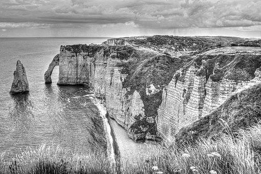 Stone Arch, Cliff, Etretat, Black, White, Landscape