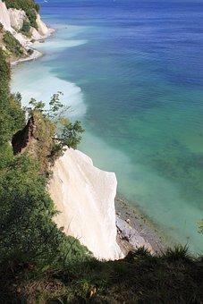 Rügen, Water, White Cliffs, Cliffs, Forest