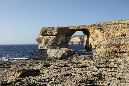Malta, Window, Sea, Blue, Gozo, Azure, Island, Water