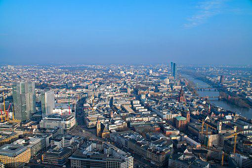 Frankfurt, Hesse, Germany, Main Tower, Aerial View