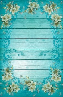 Turquoise, Blue, Frame, Flowers, Background, Fresh