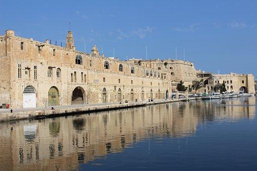 Cospicua, Building, Malta, Mirroring, 3 Cities