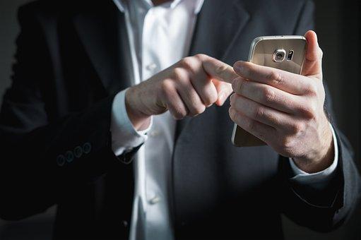 Finger, Smartphone, Screen, Pressing, Businessman