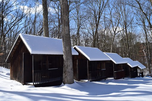 Snow, Cabins, Rural, Winter, Cold, White, Frost, Season