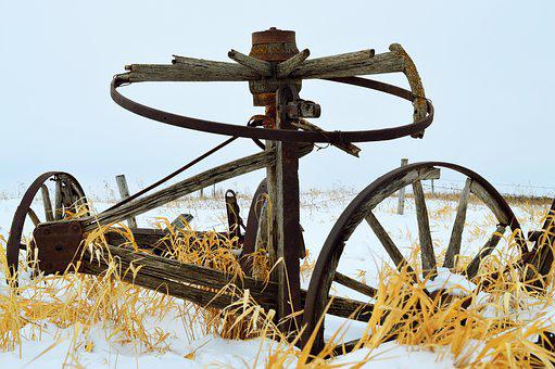 Wheel, Old, Farm Equipment, Dilapidated, Abandoned