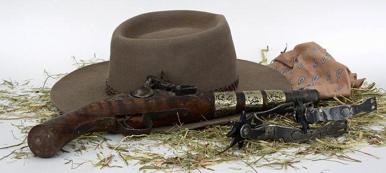Pistol, Spores, Hay, Hat, Wild West, Freedom, Cowboy