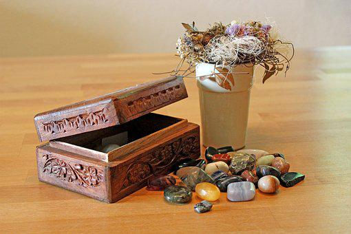 Gems, Tumble Stones, Casket, Healing Stone, Wood Box