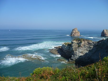 Coast, France, Atlantic, Basque Country, Hendaye, Sea