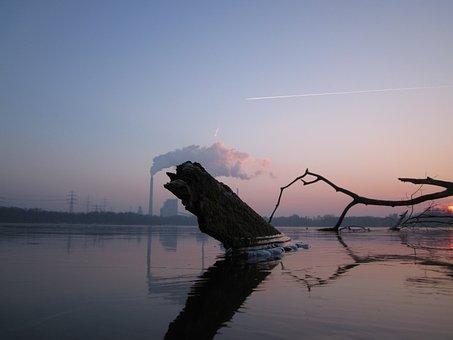 Sunset, Winter, Geforener, Lake, Knee Lingen, Karlsruhe